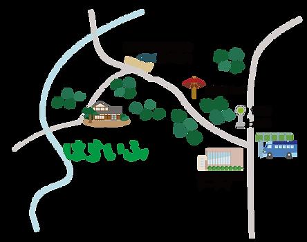 コミュニティハウスはらいふの地図 摂津峡や上の口のバス停の近くでです。