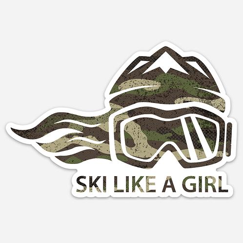 SKI LIKE A GIRL STICKER - GREEN CAMOFLAUGE