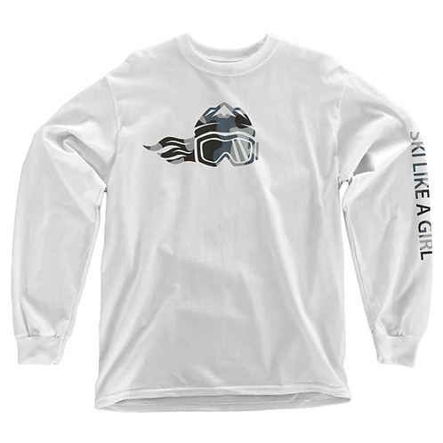 SKI LIKE A GIRL ADULT LONG SLEEVE T-SHIRT - WHITE CAMO