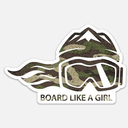 SNOWBOARD LIKE A GIRL STICKER - GREEN CAMO