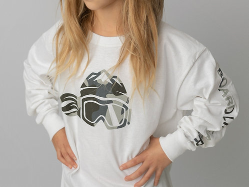 Board Like A Girl - Girls Long Sleeve T-Shirt White Camouflage Logo