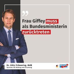 13.11.2020 Frau Giffey muss als Bundesministerin zurücktreten