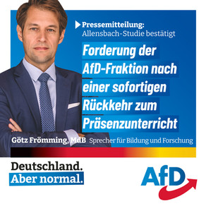 09.07.2021 Allensbach-Studie bestätigt Forderung der AfD-Fraktion nach einer sofortigen Rückkehr zum