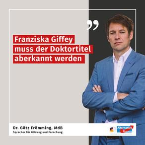 Franziska Giffey muss der Doktortitel aberkannt werden