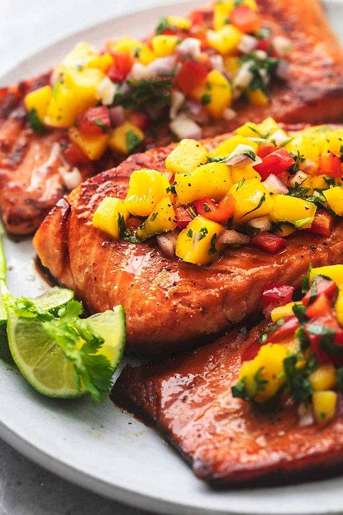 Cajun Salmon With Mango, Pineapple, Avocado Salsa