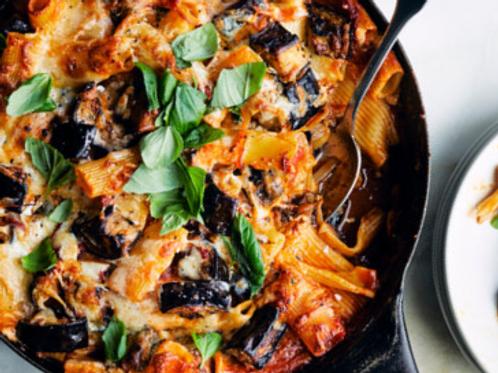 "Rigatoni ""Alexa""- Roasted Eggplant, Ricotta Cheese,Tomato Basil sauce"