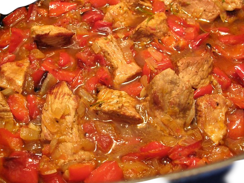Veal, Bell Peppers and Onions