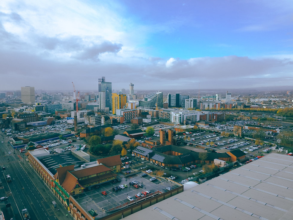 aerial drone view of city centre Manches