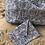 Thumbnail: Pochette enveloppe en coton aspect lin motifs bleus