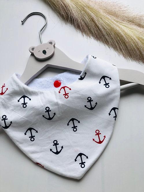 Bavoir/bandana en coton et éponge motifs ancres marine