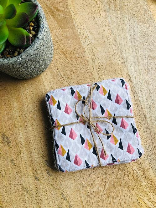 Lingettes en coton et éponge bambou motifs