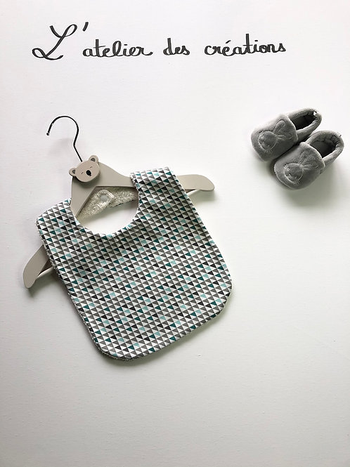 Bavoir en coton et éponge triangles turquoise gris