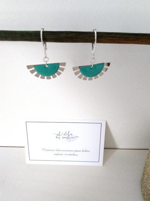 Boucles d'oreilles éventails argenté et sequin turquoise