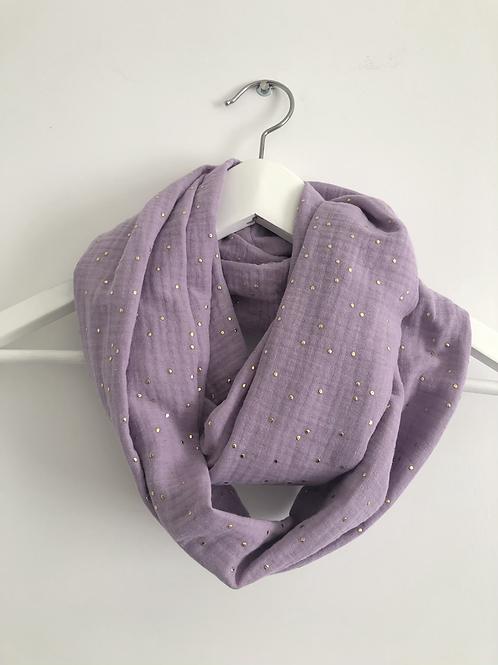 Tour de cou / snood en double gaze de coton lilas