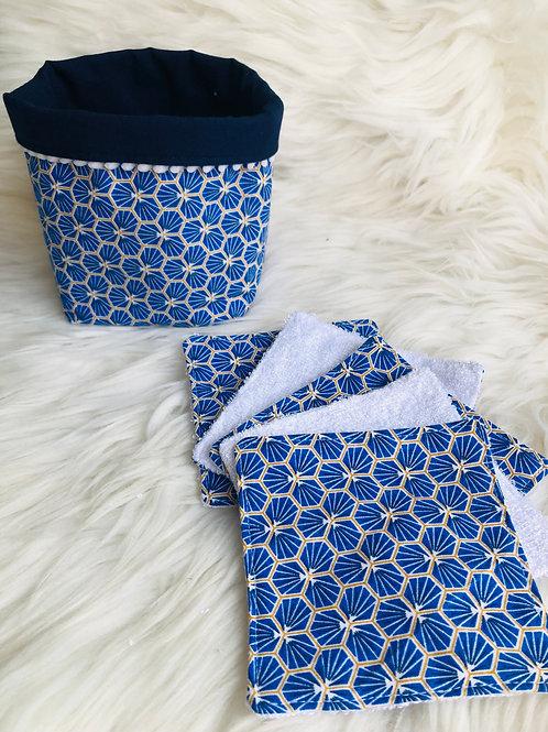 Panière et lingettes en coton et éponge bambou motifs riad bleu