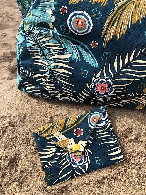 Pochette enveloppe en coton aspect lin motifs feuilles tropicales