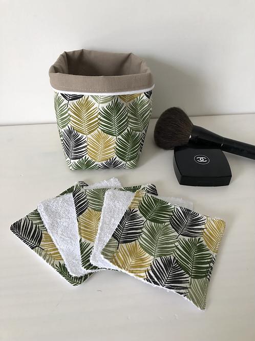 Panière et lingettes en coton et éponge bambou motifs feuilles tropicales