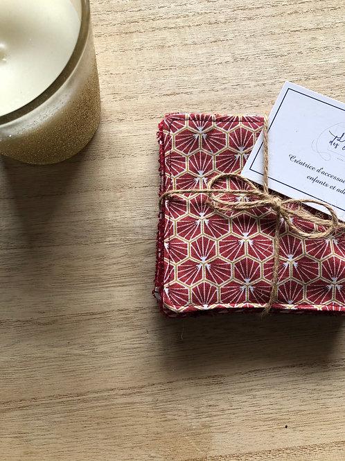 Lingettes en coton et éponge bambou motifs riad rouge