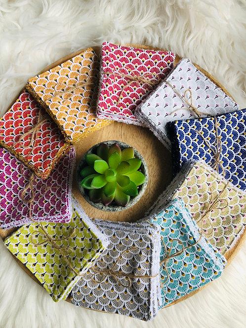 Lingettes en coton et éponge bambou motifs éventails