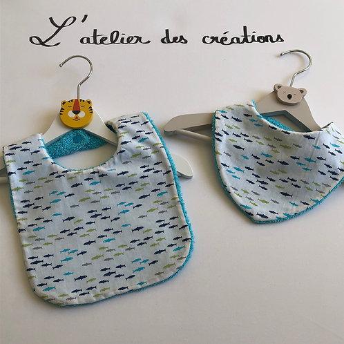 Duo bavoir / bandana en coton et éponge motifs poissons