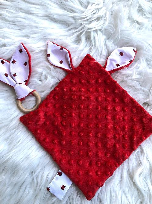 Doudou oreilles en minky tout doux et coton motifs coccinelles