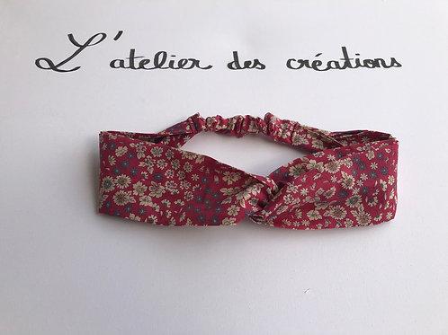 Headband / bandeau en coton fleuri fushia Froufrou