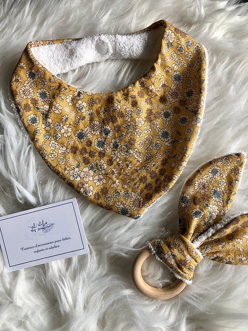 Coffret bandana et anneau de dentition tissus Froufrou fleuris