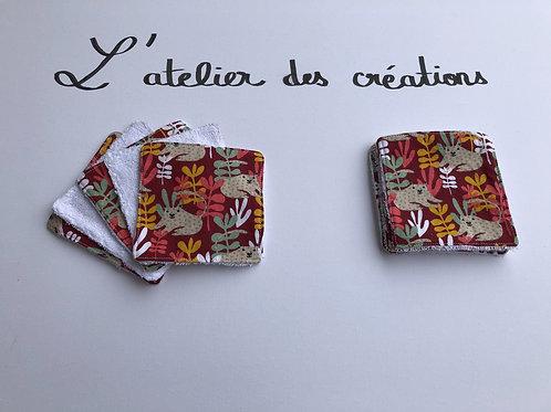 Lingettes en coton motifs animaux et éponge bambou blanche