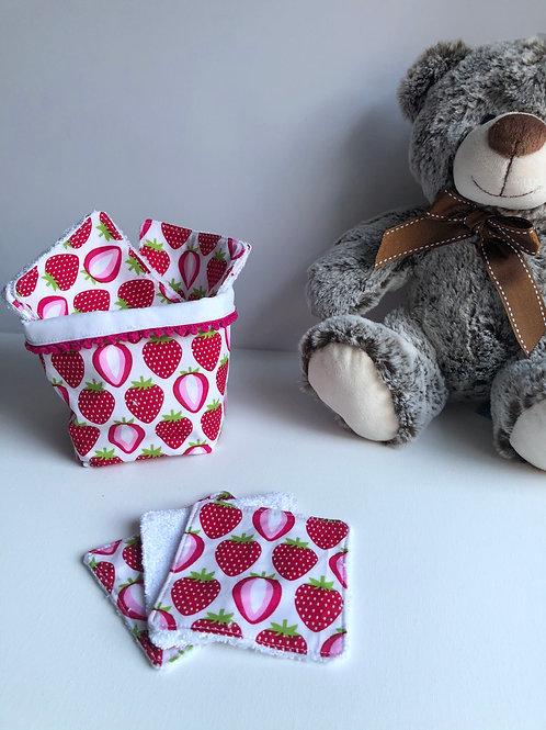 Panière et lingettes en coton et éponge bambou motifs fraises