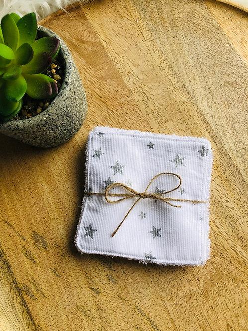Lingettes en coton et éponge bambou motifs étoiles argentés