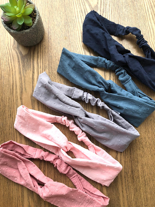 Headband / bandeau en coton plumetis