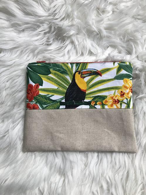 Trousse pochette en toile de coton aspect lin motifs perroquets tropicaux