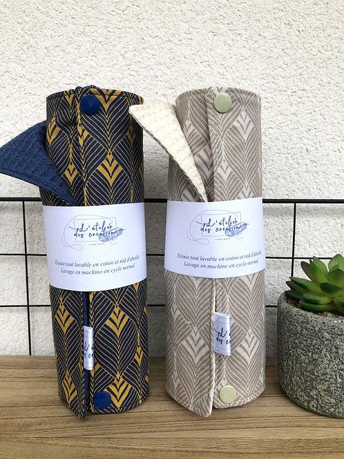 Essuie tout lavable et réutilisable motifs feuilles