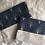 Thumbnail: Trousse pochette en toile de coton aspect lin motifs marine et doré