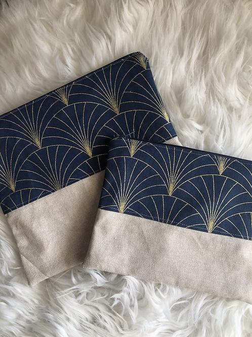 Trousse pochette en toile de coton aspect lin motifs marine et doré