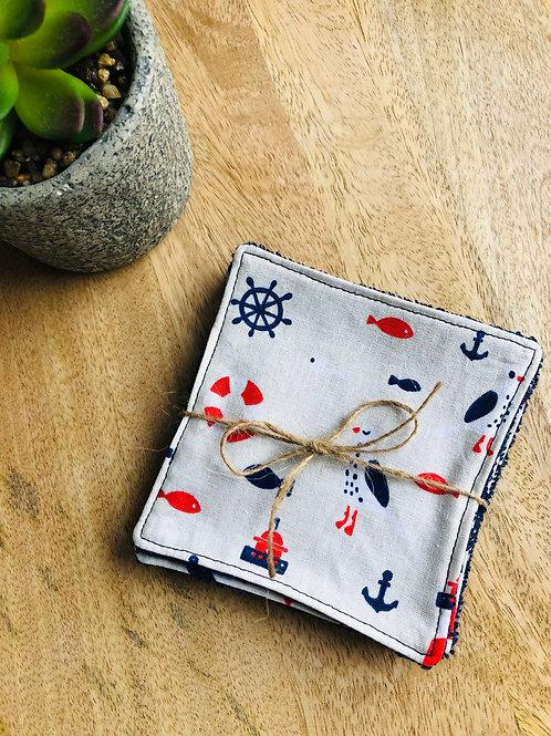 Lingettes en coton et éponge bambou motifs mouettes