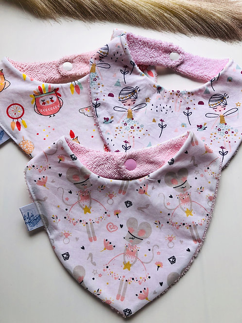 Bavoir/bandana en coton et éponge motifs filles