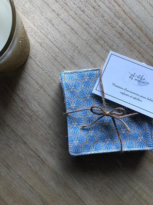 Lingettes en coton et éponge bambou motifs riad bleu clair