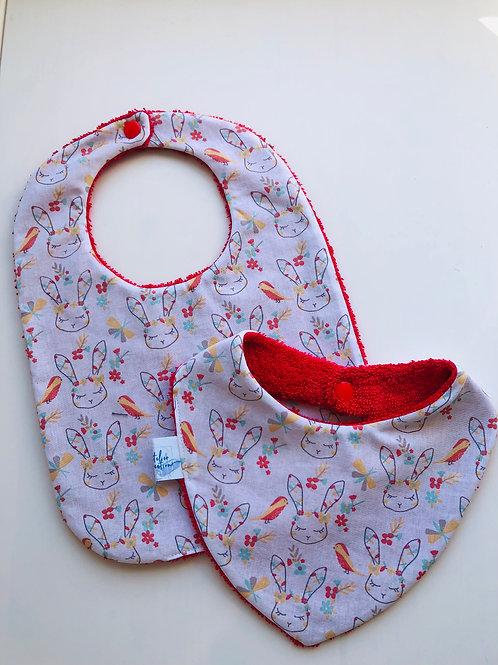 Duo bavoir / bandana en coton et éponge motifs lapins