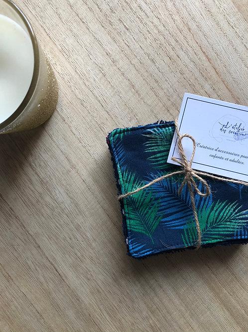 Lingettes en coton et éponge bambou motifs feuilles tons vert et bleu