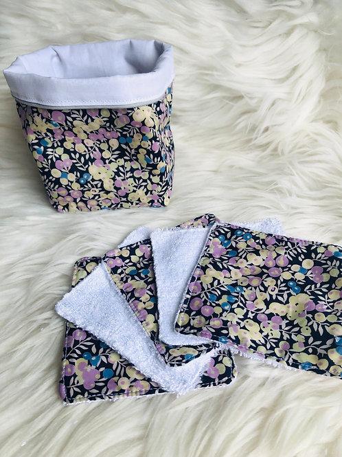 Panière et lingettes en coton et éponge bambou motifs fleuris