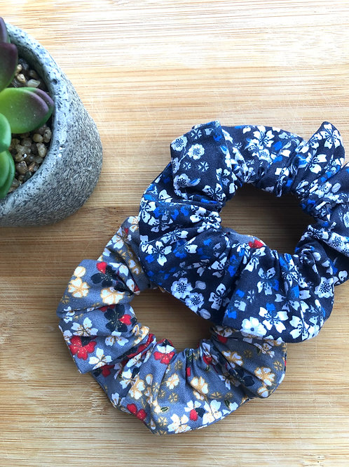 Chouchou en coton motifs fleurIs