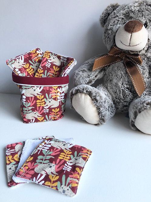 Panière et lingettes en coton et éponge bambou motifs animaux