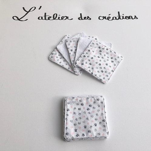 Lingettes en coton et éponge bambou motifs petites pattes animaux