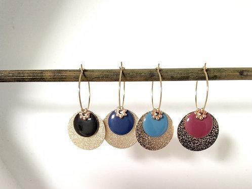 Créoles sequins en métal doré et sequins émaillé et diamanté en métal doré
