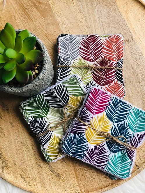 Lingettes en coton et éponge bambou motifs feuilles