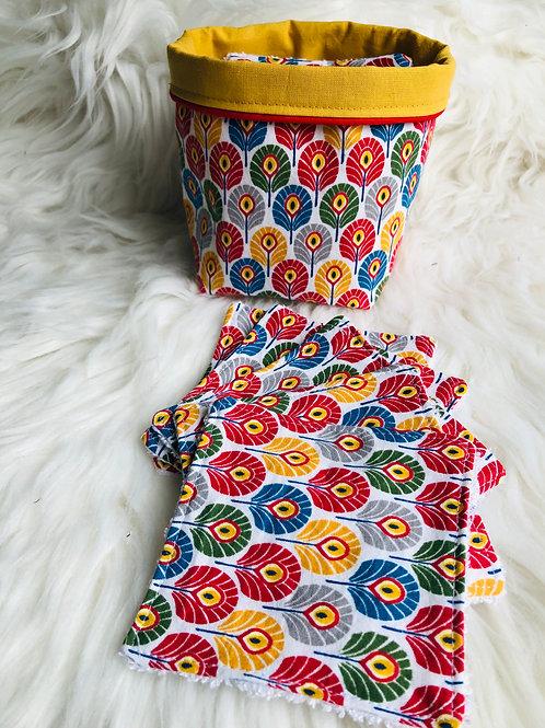 Panière et lingettes motifs plumes de paon multicolores