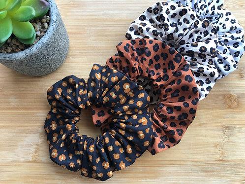 Chouchou en coton motifs léopard
