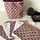 Thumbnail: Panière et lingettes en coton et éponge bambou motifs éventails bordeaux