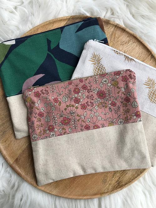 Trousse pochette en toile de coton aspect lin motifs